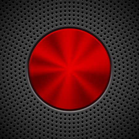 Black technology background with circle grate perforated pattern, bevels and metal circular polished brushed texture for design concepts, wallpapers, web, presentations, prints. Vector illustration.