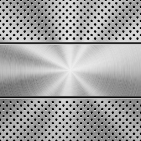 Metal texture technology background with grate perforated pattern, circular polished, brushed concentric texture, chrome, steel, silver. Vector illustration.