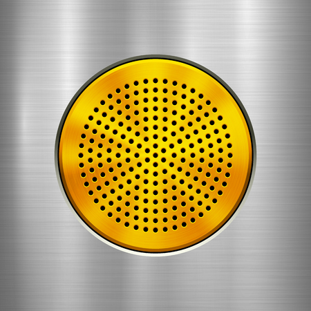 Metal technology background with gold circle perforated grate, audio speaker with and polished, brushed texture, chrome, silver, steel, aluminum for design concepts, interfaces. Vector illustration.