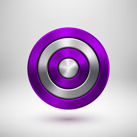 Violet, purple technology circle badge, abstract geometric perforated button template with metal texture.