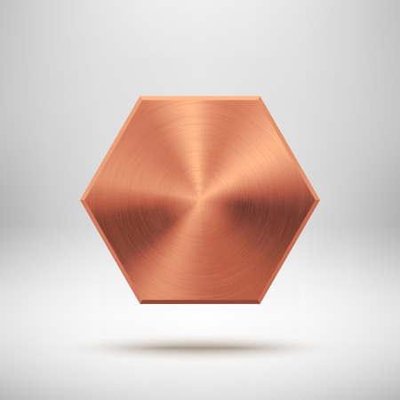 Bronze abstract polygon, hex badge, technology blank button template with metal texture.