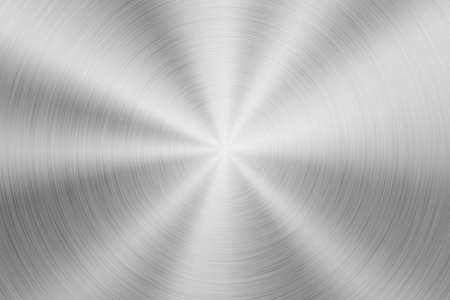 Metal abstract technology background with circular polished, brushed concentric texture, chrome, silver, steel, aluminum for design concepts, wallpapers, web and prints. Vector illustration. Ilustrace