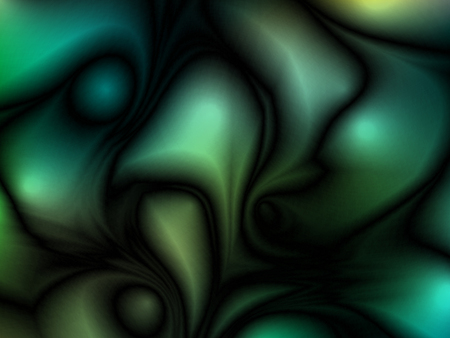 Green abstract futuristic glossy background with fabric, silk texture and ambient occlusion effect for design concepts