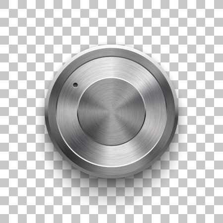 Audio volume knob, technology music button template, with metal circular brushed texture, chrome, silver, steel and realistic shadow for design concepts, web, interfaces, UI, apps. Vector Illustration Reklamní fotografie - 101256535