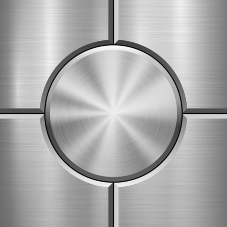 Metal technology background with abstract bevels and polished, brushed texture, chrome, silver, steel, aluminum for design concepts, web, prints, wallpapers and interfaces. Vector illustration. Reklamní fotografie - 101256536