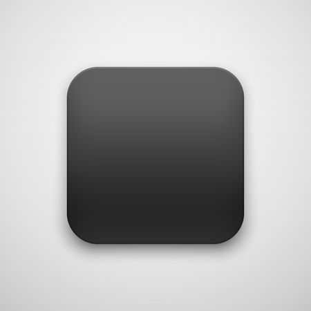 Black abstract app icon, blank button template with realistic shadow and light background for web sites, user interfaces, UI, applications, apps and business presentations. Vector illustration. Ilustrace