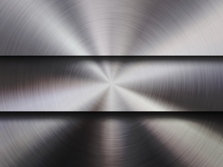 Metal textured abstract technology background with circular polished, brushed concentric texture, chrome, silver, steel, aluminum for design concepts, wallpapers, web and prints. Vector illustration. Reklamní fotografie - 101301665