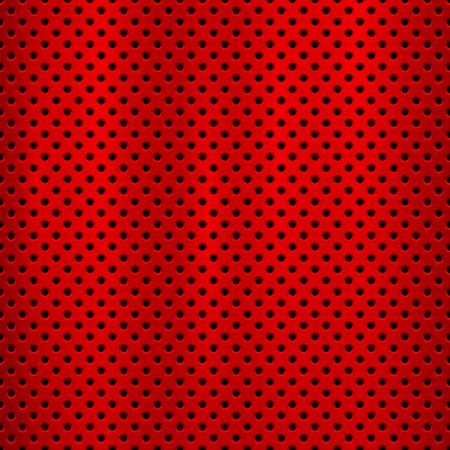 Fondo de tecnología de metal rojo con patrón perforado de círculo transparente y pulido circular, textura cepillada, cromo, acero para conceptos de diseño, web, impresiones, fondos de pantalla. Ilustración vectorial