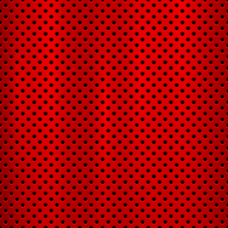 Red metal technology background with with seamless circle perforated pattern and circular polished, brushed texture, chrome, steel for design concepts, web, prints, wallpapers. Vector illustration
