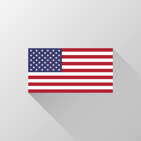 USA, United States of America flag with official proportions and colors, flat designed shadow and light background for wallpapers, design concepts, badges, web, print. Vector illustration.