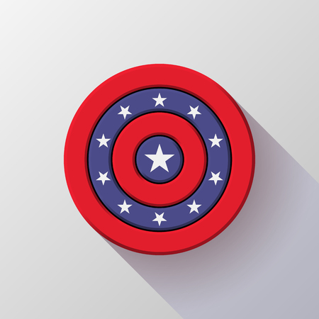4th of July Independence Day badge, circle button template with flat designed shadow and light background for logo, design concepts, web and prints. Vector illustration. Ilustrace
