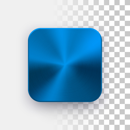 Blue metal blank app icon, technology button template with circular brushed texture, chrome, steel, copper and realistic shadow for design concepts, web sites, interfaces, applications, apps. Vector.