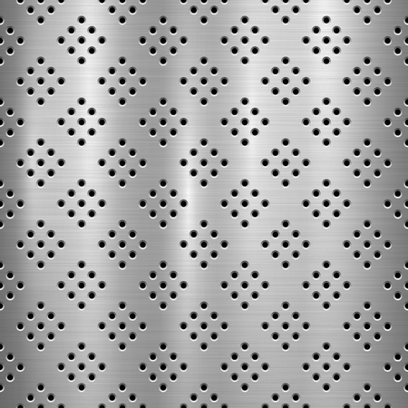 Metal technology background with with seamless circle perforated pattern and circular polished, brushed texture, chrome, silver, steel for design concepts, web, prints, wallpapers. Vector illustration Ilustrace