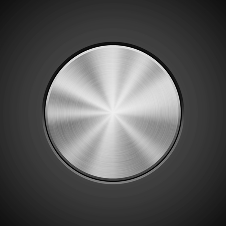 Metal circle push button, technology badge with metallic backhround, bevels and polished, brushed texture, chrome, silver, steel, aluminum for design concepts, web and prints. Vector illustration. Ilustrace