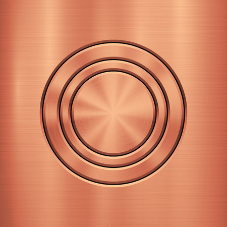 Bronze metal technology background with circle for and polished, brushed metallic texture, chrome, silver, steel, rust for design concepts, wallpapers, interfaces, web and prints. Vector illustration.