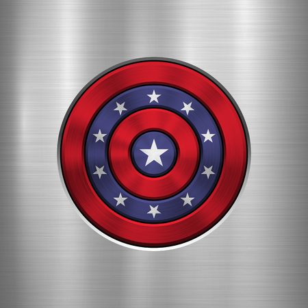 4th of July Independence Day badge, circle button template with metal texture, chrome, silver, steel and realistic reflex for logo, design concepts, interfaces, apps. Vector illustration.