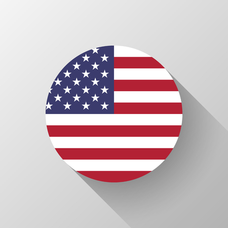 Circle badge with with USA national flag, button template with flat designed shadow and light background for design concepts, web and prints. Vector illustration.