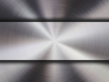 Metal textured abstract technology background with circular polished, brushed concentric texture, chrome, silver, steel, aluminum for design concepts, wallpapers, web and prints. Vector illustration.