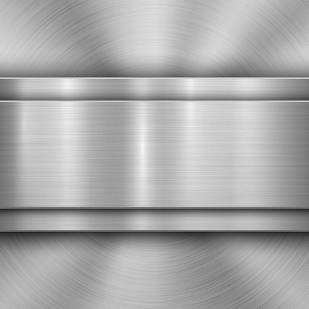Metal technology background with circular and straight polished, brushed texture, chrome, silver, steel, aluminum for design concepts, wallpapers, web and prints . Vector illustration Reklamní fotografie - 115044939