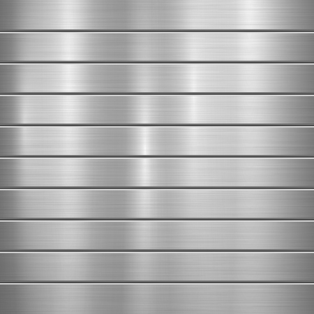 Metal technology background with polished, brushed texture, chrome, silver, steel, aluminum and horizontal bevels for design concepts, web, prints, wallpapers, interfaces. Vector illustration. Ilustrace