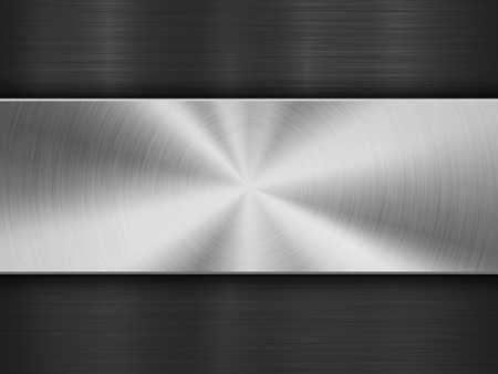 Metal textured abstract technology background with circular and straight polished, brushed texture, chrome, silver, steel, aluminum for design concepts, wallpapers, web and prints. Vector illustration Ilustrace