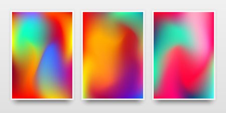 Poster templates, banners mock-up with colorful gradient backgrounds and realistic shadow for design concepts, presentations, identity, web and prints. Vector illustration. Reklamní fotografie - 111671590