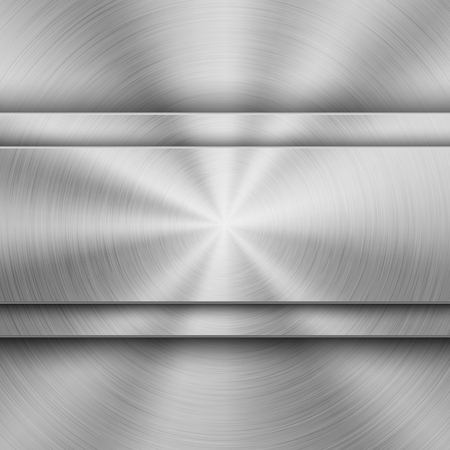Metal textured abstract technology background with circular polished, brushed concentric texture, chrome, silver, steel, aluminum for design concepts, wallpapers, web and prints. Vector illustration. Reklamní fotografie - 109815606