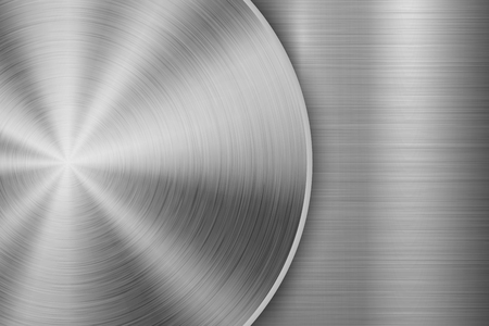 Metal technology background with circular and straight polished, brushed texture, chrome, silver, steel, aluminum for design concepts, wallpapers, web and prints . Vector illustration Reklamní fotografie - 108531405