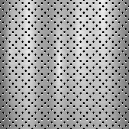 Metal technology background with with seamless circle perforated pattern and circular polished, brushed texture, chrome, silver, steel for design concepts, web, prints, wallpapers. Vector illustration Reklamní fotografie - 109815607