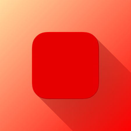 Red abstract app icon, blank button template with flat designed shadow and gradient background for internet sites, web user interfaces, UI and applications, apps. Vector illustration. Stock Vector - 108973562