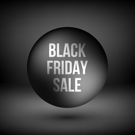Black friday sale abstract badge, premium luxury bubble button template with reflex, realistic shadow and dark studio background, design concepts, banners, web, prints. Vector illustration. Reklamní fotografie - 111268543