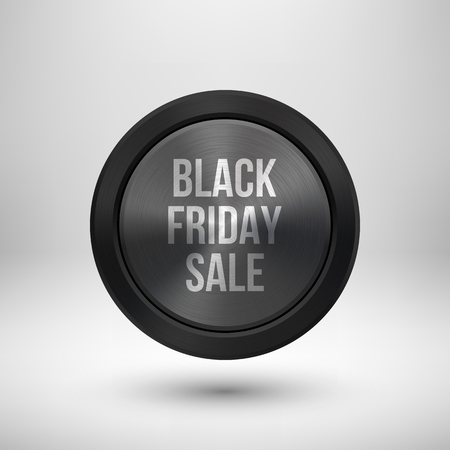 Black friday sale badge, abstract technology circle perforated button with metal texture, chrome, silver, steel and realistic shadow , design concepts, interfaces, apps. Vector illustration.