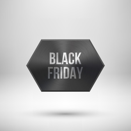 Black friday sale badge, abstract technology circle perforated button with metal texture, chrome, silver, steel and realistic shadow  design concepts, interfaces, apps. Vector illustration. Reklamní fotografie - 111268542