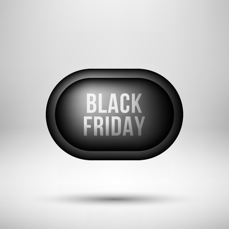 Black friday abstract badge, premium luxury bubble button template with reflex, realistic shadow and white studio background, design concepts, banners, web, prints. Vector illustration. Reklamní fotografie - 111268545
