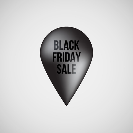 Black abstract premium map pointer, realistic luxury badge, gps button with black friday sale text and light background , design concepts, banners, apps and prints. Vector illustration