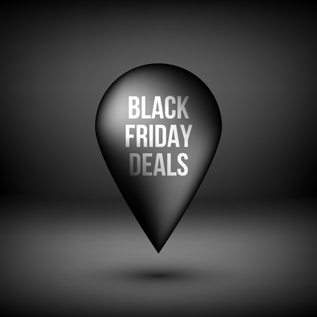 Black friday deals abstract premium map pointer, luxury badge, gps button with realistic shadow and dark studio background , design concepts, banners, apps and prints. Vector illustration Reklamní fotografie - 111268547