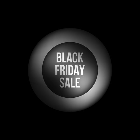 Black friday sale abstract badge, premium luxury bubble button template with reflex, realistic shadow and dark background , design concepts, banners, web, prints. Vector illustration.