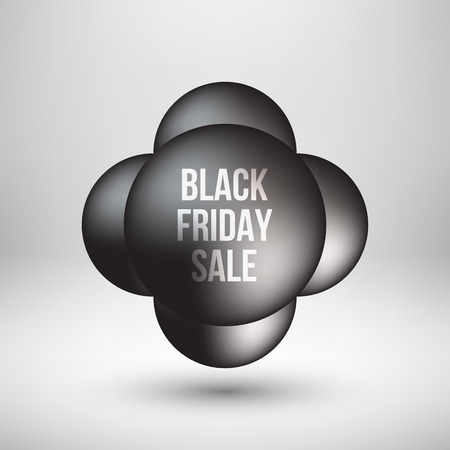 Black friday sale abstract badge, premium luxury bubble button template with reflex, realistic shadow and white studio background , design concepts, banners, web, prints. Vector illustration. Reklamní fotografie - 111268552