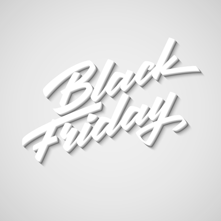 Black Friday Sale handmade lettering, 3d oblique calligraphy with block blended shade and realistic shadow , banners, labels, badges, prints, posters, web, presentation. Vector illustration.