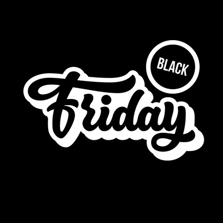 Black Friday Sale handmade lettering, 3d oblique calligraphy with block blended white shade, shadow and dark background , banners, labels, badges, posters, web. Vector illustration. Reklamní fotografie - 111268550