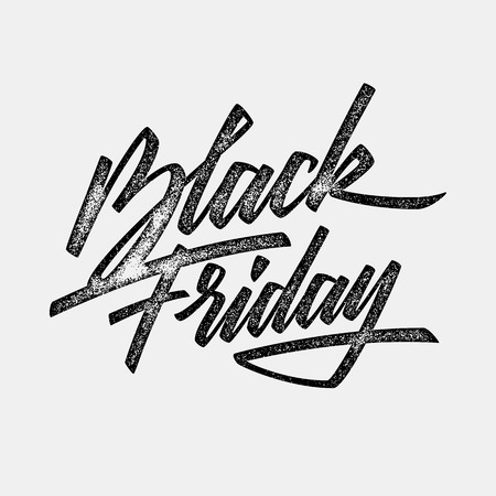 Black Friday Sale handmade lettering, calligraphy with film grain, noise, dotwork, grunge texture and light background , banners, labels, badges, prints, posters and web. Vector illustration.