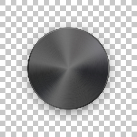 Black metal circle badge, blank button template with metallic texture, chrome, silver, steel and realistic shadow and transparent background for logo, design concepts, web, apps. Vector illustration. Reklamní fotografie - 110065551