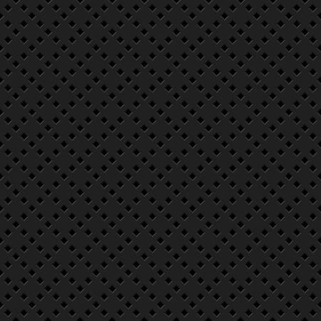 Black abstract technology background with seamless rhomb perforated speaker grill texture for web, user interfaces, UI, applications, apps, business presentations and prints. Vector illustration. Reklamní fotografie - 111268556
