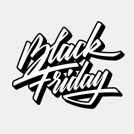 Black Friday Sale handmade lettering, 3d oblique calligraphy with block blended white shade and light background , banners, labels, badges, posters, web, presentation. Vector illustration.
