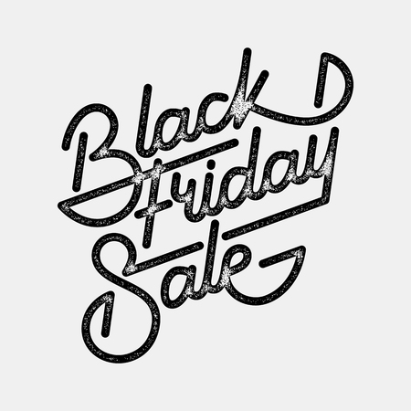 Black Friday Sale handmade lettering, calligraphy with film grain, noise, dotwork, grunge texture and light background , banners, labels, badges, prints, posters, web. Vector illustration.