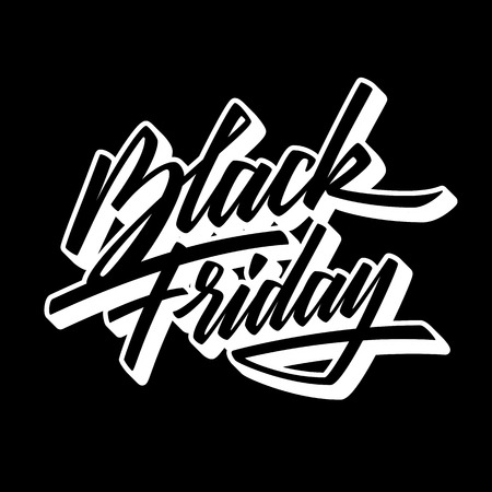 Black Friday Sale handmade lettering, 3d oblique calligraphy with block blended white shade and dark background , banners, labels, badges, posters, web, presentation. Vector illustration.