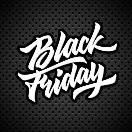 Black Friday Sale lettering, handmade calligraphy and dark perforated background , design concepts, badges, banners, labels, posters, prints and web, . Vector illustration. Ilustrace