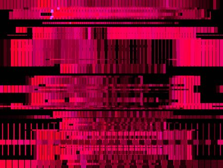 Glitch magenta abstract background with distortion, bug effect, random lines for design concepts, posters, wallpapers, presentations and prints. Vector illustration. Çizim