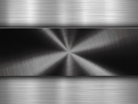 Metal textured abstract technology background with circular and straight polished, brushed texture, chrome, silver, steel, aluminum for design concepts, wallpapers, web and prints. Vector illustration Illustration