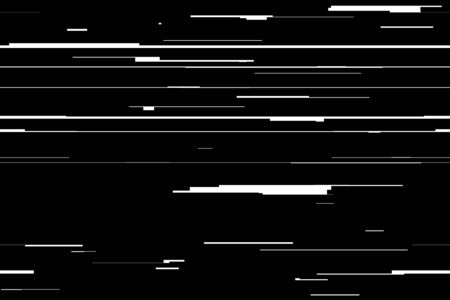 Abstract background with glitch effect, distortion, seamless texture, random horizontal black and white lines for design concepts, posters, banners, web, presentations and prints. Vector illustration. Banco de Imagens - 132095363